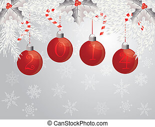 Happy New Year Garland with 2014 Ornaments Illustration