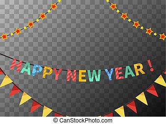Happy new year garlands with flags and stars, congratulations template on transparent