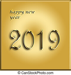 happy new year gold card - 2019 year