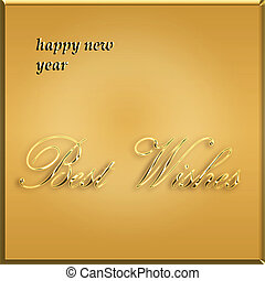 happy new year gold card - best wishes
