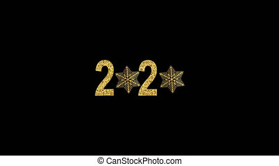 Happy New Year gold number 2020. Bright golden design with sparkle and golden snowflakes. Animation with Alpha (transparent background) for easy use in your video.