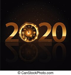 Happy new year gold text design. Vector illustration