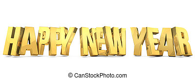 happy new year golden bold 3d render