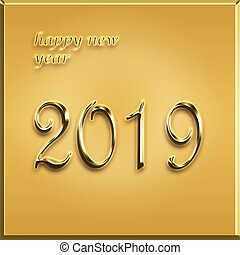 happy new year golden card - 2019 year