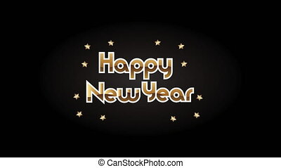 happy new year golden lettering with stars