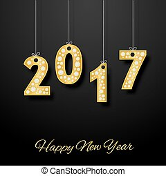 happy new year. Golden number with diamonds