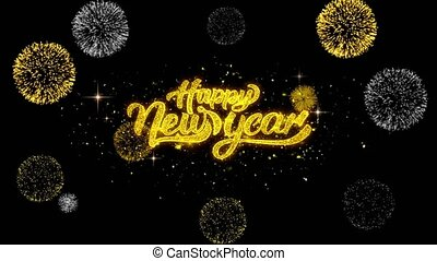 Happy New Year golden Text blinking particles with golden fireworks Display background.
