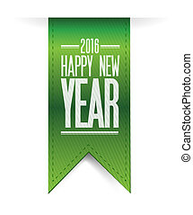 happy new year green banner 2016 sign