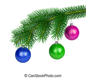 Happy New Year - Green branch of pine with colored balls. 3d...