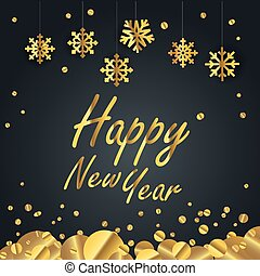 Happy new year greeting card. Different golden vector snowflakes illustration. New