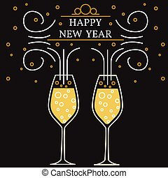 Happy new year greeting card. EPS10 vector. Champagne glasses thin line.