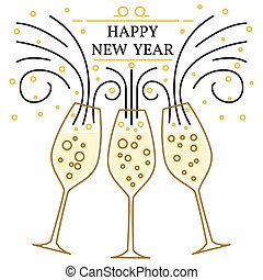 Happy new year greeting card. EPS10 vector. Champagne glasses th