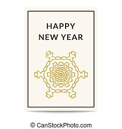 Happy New Year greeting card golden snowflake