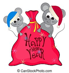 happy new year greeting card. mice and bag with gifts. vector illustration