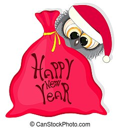 happy new year greeting card. owl and bag with gifts. vector illustration.