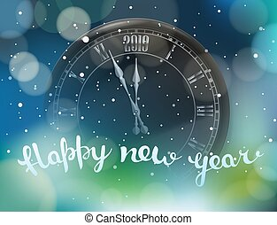 Happy new year greeting card. Round black classic wall clock...