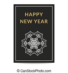 Happy New Year greeting card silver snowflake golden text