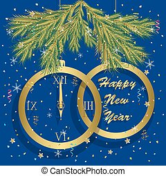 happy new year greeting card with clock.