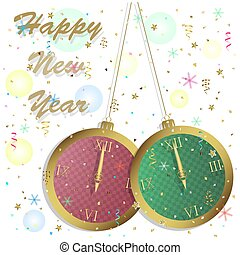happy new year. greeting card with clocks.