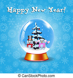 Happy new year greeting card with crystal snow globe