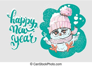 Happy New Year Greeting card with cute little owl in winter scarf and hat. Vector illustration.