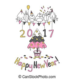 Happy New Year greeting card with cartoon funny birds. Hand...