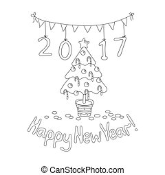 Happy New Year greeting card with spruce. Coloring book...