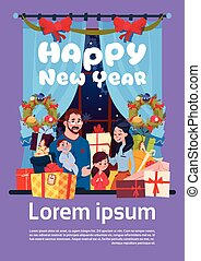 Happy New Year Greeting Card With Image Of Young Family Together With Present Boxes, Parents And Children On Merry Christmas Poster