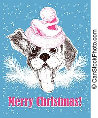 happy new year greeting card with vector portrait of dog in santa hat