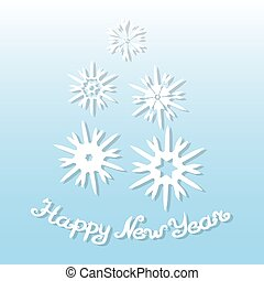 Happy New Year. Greeting card with white snowflakes on a blue background