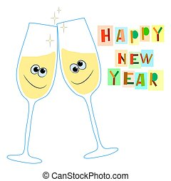 Happy new year greeting card with wine glasses. vector illustration on a white background.