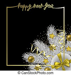 Happy New Year Greeting Card with Winter Holiday Objects