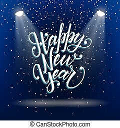 Happy new year greeting postcard with unique 3d lettering ...