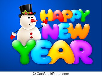 Happy New Year Greeting With Snowman