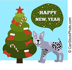 Happy New Year Greetings Poster Christmas Tree Dog