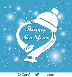 Happy New Year hand lettering. Handmade calligraphy holiday greeting card design. White hat and scarf. Abstract background Falling snow. Winter season label. Vector illustration. eps 10