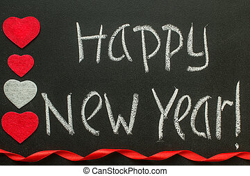 Happy New Year handwriting on a blackboard.