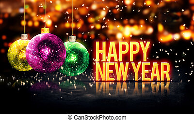 Happy New Year Hanging Baubles Yellow Bokeh Beautiful 3D