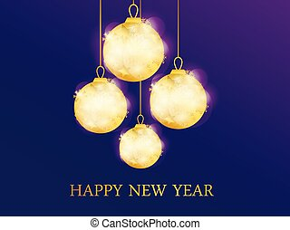Happy New Year. Hanging golden christmas balls. Vector illustration