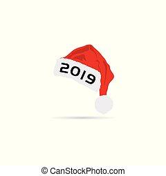 happy new year hat 2019 illustration