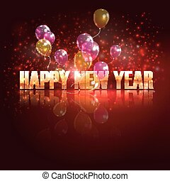 happy new year. holiday background with flying balloons