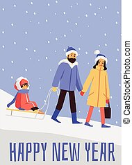 Happy new year holiday poster with family, flat cartoon vector illustration