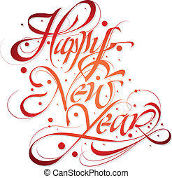 Happy new year greeting typography with hand-lettered...