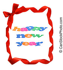 Happy New Year in bow ribbons border