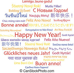 Happy New Year in different languages.