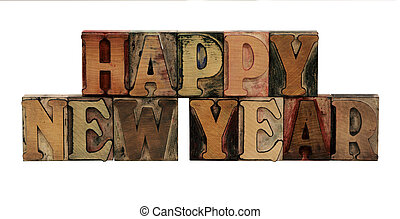 Happy New Year in letterpress wood letters