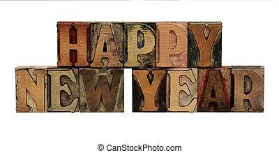 Happy New Year in letterpress wood letters