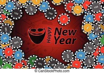 happy new year inscription with santa