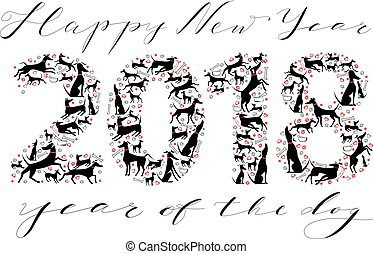 Happy New Year inscription with silhouettes of dogs