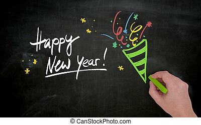 Happy New Year is hand painted with chalk on blackboard
